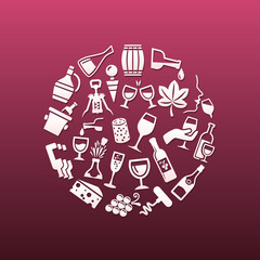 wine icons in circle