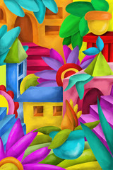 background with colorful fantasy constructions