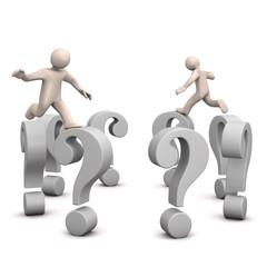FAQ, Cartoon Männchen springen auf Fragezeichen, 3D rendering