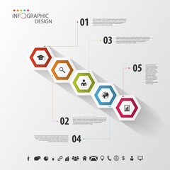 Colorful infographic with hexagons. Business template. Vector