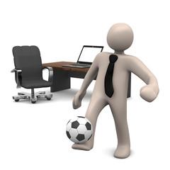 Cartoon Männchen spielt Fussball im Büro, 3D rendering