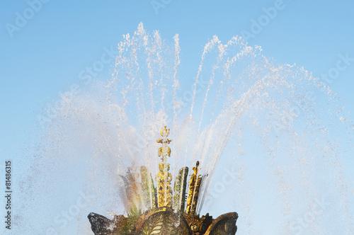 "Leinwanddruck Bild fountain ""Stone flower"" with rainbow,ENEA, Moscow, Russia."