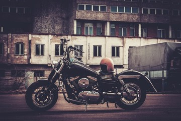 Custom made bobber motorcycle on a road