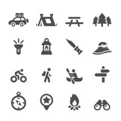 camping icon set, vector eps10