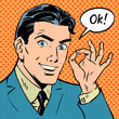 businessman says okay success pop art comics retro style Halfton - 81487176
