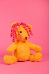 Bear girl on pink