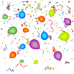 Confetti with Balloons Background