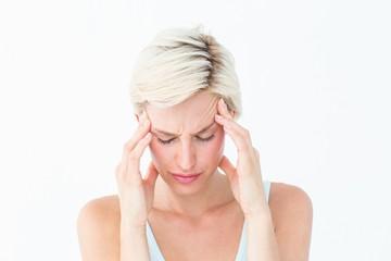 Pretty blonde suffering from headache