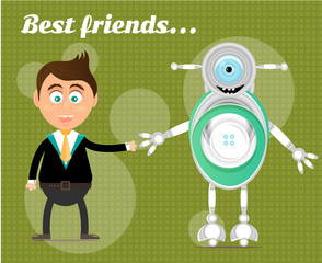 Smiling, happy, young, standing, businessman with modern robot