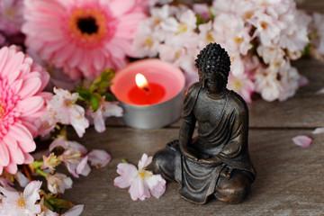 Buddha mit Teelicht