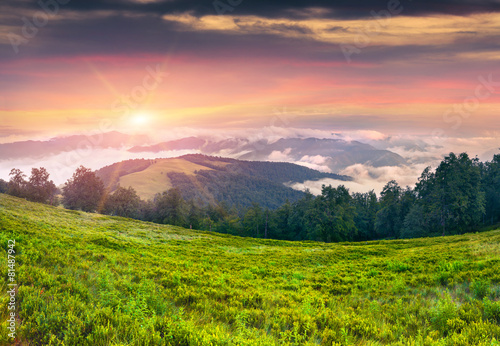 Papiers peints Morning Glory Dramatic summer sunset in the foggy mountains