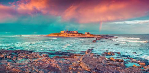 Colorful spring seascape on the Passero cape