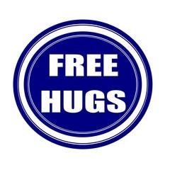 Free hugs white stamp text on blueblack