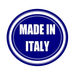 Made in italy white stamp text on blueblack