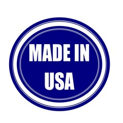 MADE IN USA white stamp text on blueblack