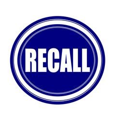 Recall white stamp text on blueblack