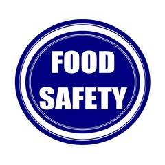 Food safety white stamp text on blueblack