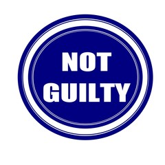 Not guilty white stamp text on blueblack