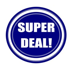 Super deal white stamp text on blueblack