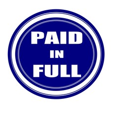 Paid in full white stamp text on blueblack