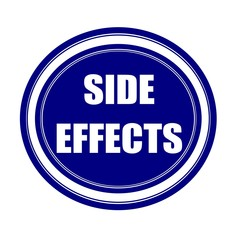 Side effect white stamp text on blueblack