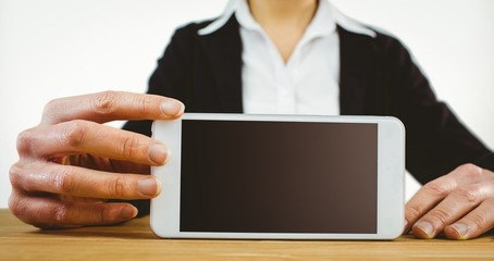 Businesswoman using her tablet pc