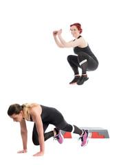 2 junge Frauen trainieren im Fitnessstudio