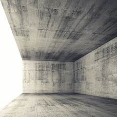 3d empty concrete interior with bright window opening