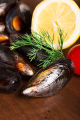 Boild mussels with dill