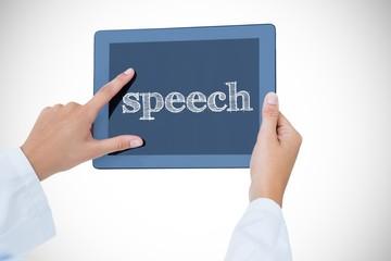 Speech against doctor using tablet pc