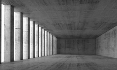 Empty interior and concrete walls and columns, 3d