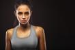 closeup portrait of sporty woman - 81489923