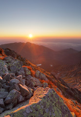 Mountain sunset  from peak - Slovakia Tatras