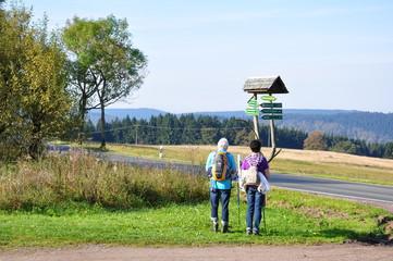 Wanderer am Wegweiser im Thüringer Wald