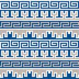 Seamless blue and beige Greek pattern