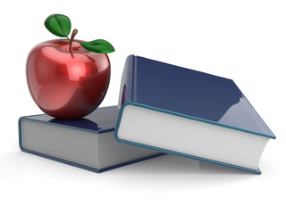 Books and red apple education learning school concept