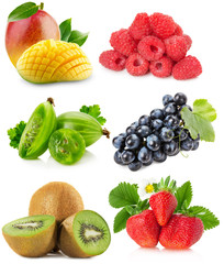 collection of fruits isolated on a white background