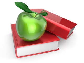 Books with green apple learning education icon
