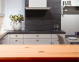 Fototapety Kitchen interior wooden table