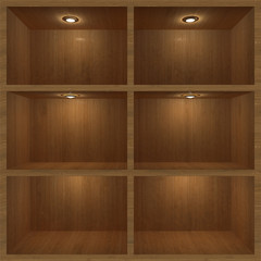 wooden shelf with lighting