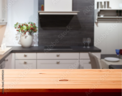 Kitchen interior wooden table - 81492523