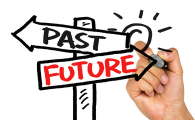 past or future on signpost hand drawing on whiteboard