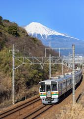 Train with Mountain Fuji in Japan