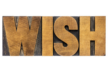 wish word typography in wood type