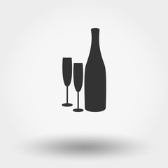 Bottles and glasses.