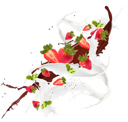 Milk splash with fruits isolated on white