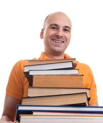 man with many books