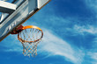 Basketball hoop agaist blue cloudy sky with copy space. - 81494721
