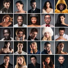 Collage of different people portrait on dark background.