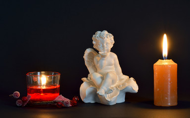 Angel and candles, Christmas celebration